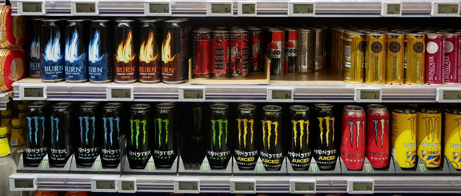 energy drinks on a store shelf